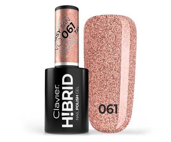 Lakier hybrydowy brokatowy, glitter H!BRID – 061 – Glossy Tan