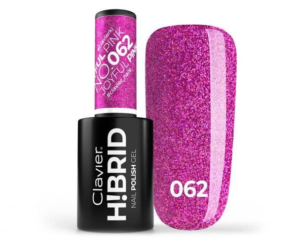 Lakier hybrydowy brokatowy, glitter H!BRID – 062 – Joyfull Pink