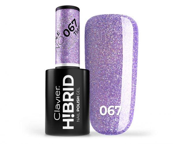 Lakier hybrydowy brokatowy, glitter H!BRID – 067 – Purple Tiara