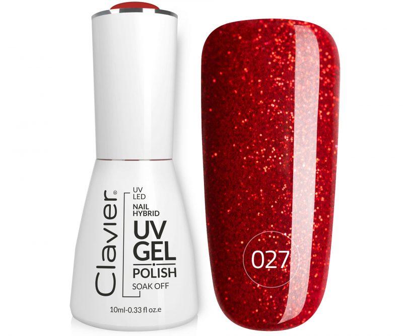 Lakier Hybrydowy do Paznokci – Clavier Luxury 027 – Galactic Red