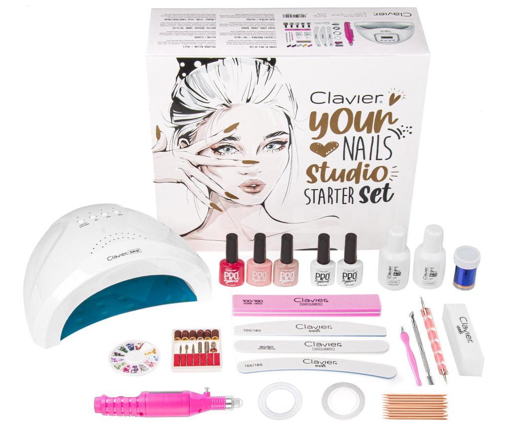 Zestaw Startowy do Manicure, Lampa UV/LED 48W + Frezarka Mini, 3x Lakier Hybrydowy, Baza, Top Your Nails Studio Starter Set