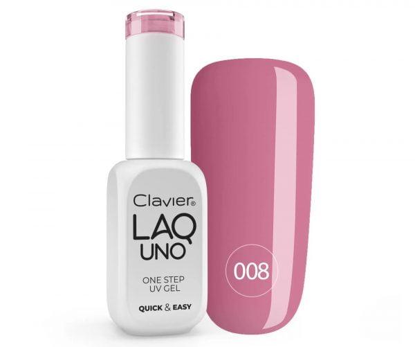 Lakier 3w1 + GRATIS, LaqUno Clavier One Step Gel Hybrydowy, Monofazowy 8ml – Kissable 008