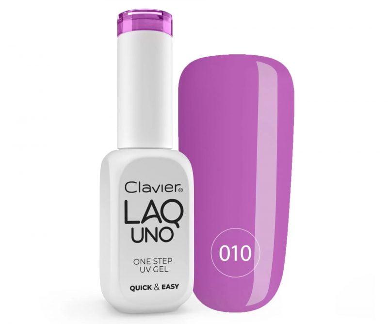 Lakier 3w1 + GRATIS, LaqUno Clavier One Step Gel Hybrydowy, Monofazowy 8ml – Purple Bubble 010