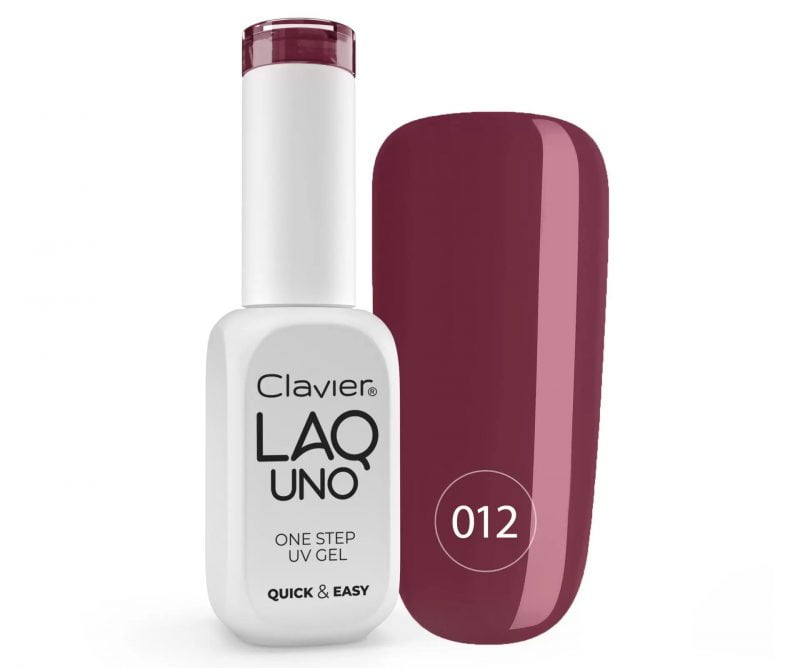 Lakier 3w1 + GRATIS, LaqUno Clavier One Step Gel Hybrydowy, Monofazowy 8ml – Winey Brownie 012