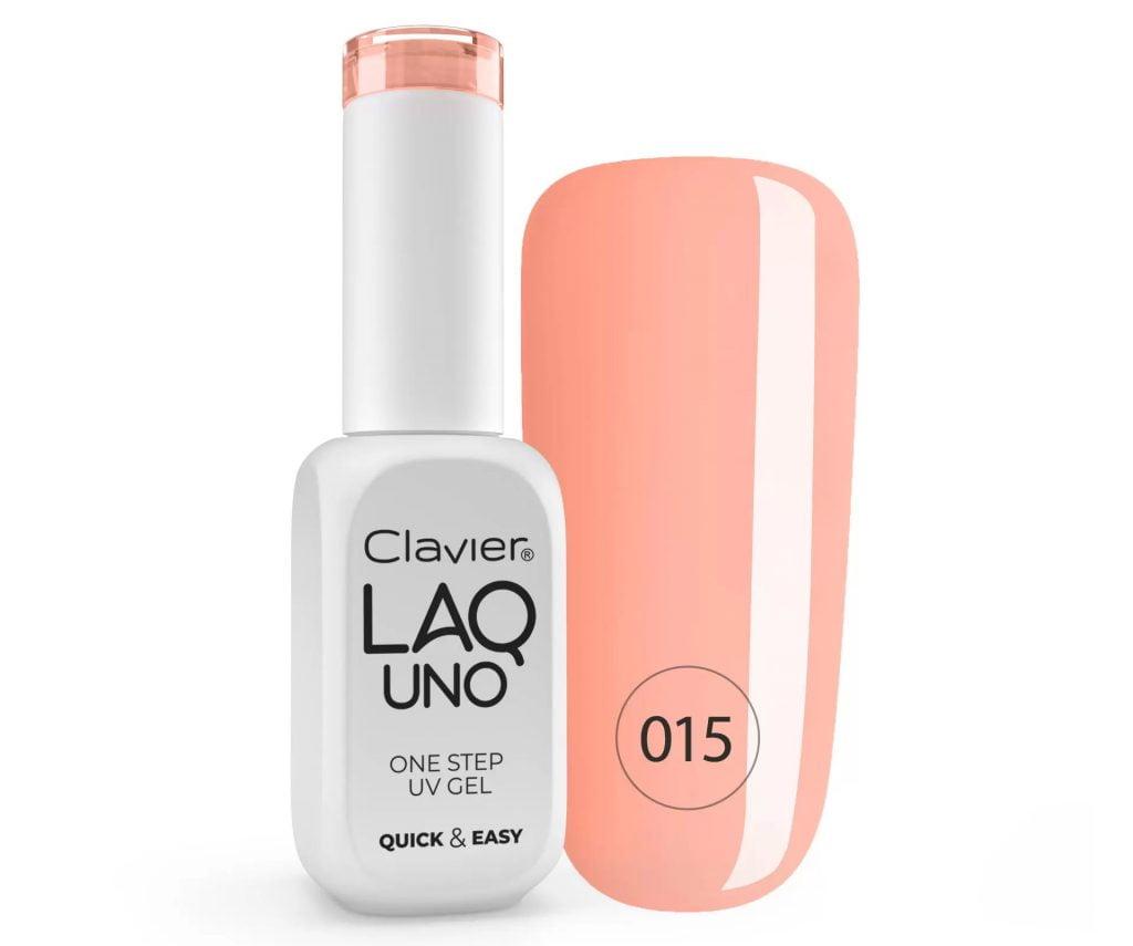 Lakier 3w1 + GRATIS, LaqUno Clavier One Step Gel Hybrydowy, Monofazowy 8ml – Morning Haze 015