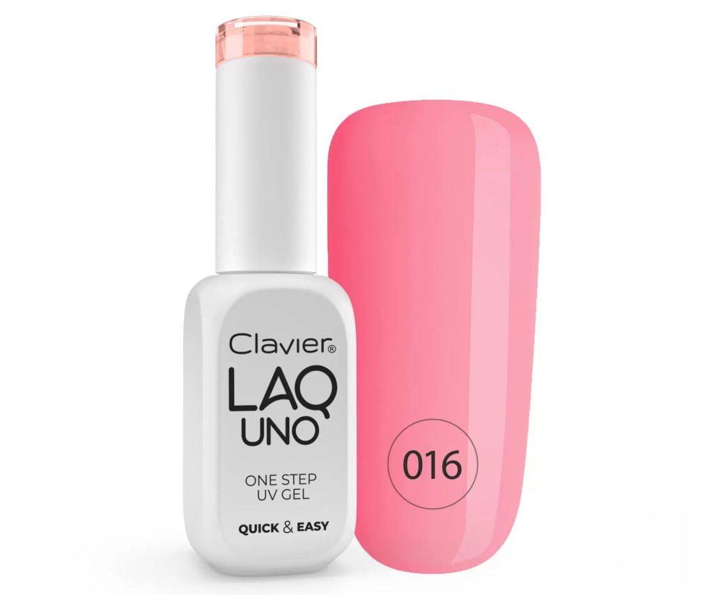 Lakier 3w1 + GRATIS, LaqUno Clavier One Step Gel Hybrydowy, Monofazowy 8ml – Sugar Fog 016