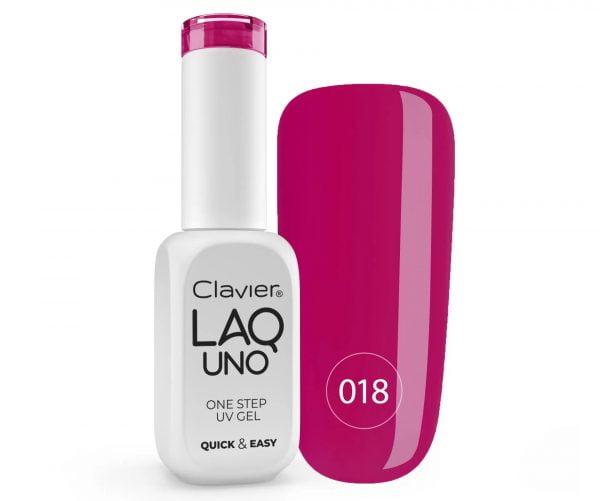 Lakier 3w1 + GRATIS, LaqUno Clavier One Step Gel Hybrydowy, Monofazowy 8ml – Cherry Bomb 018