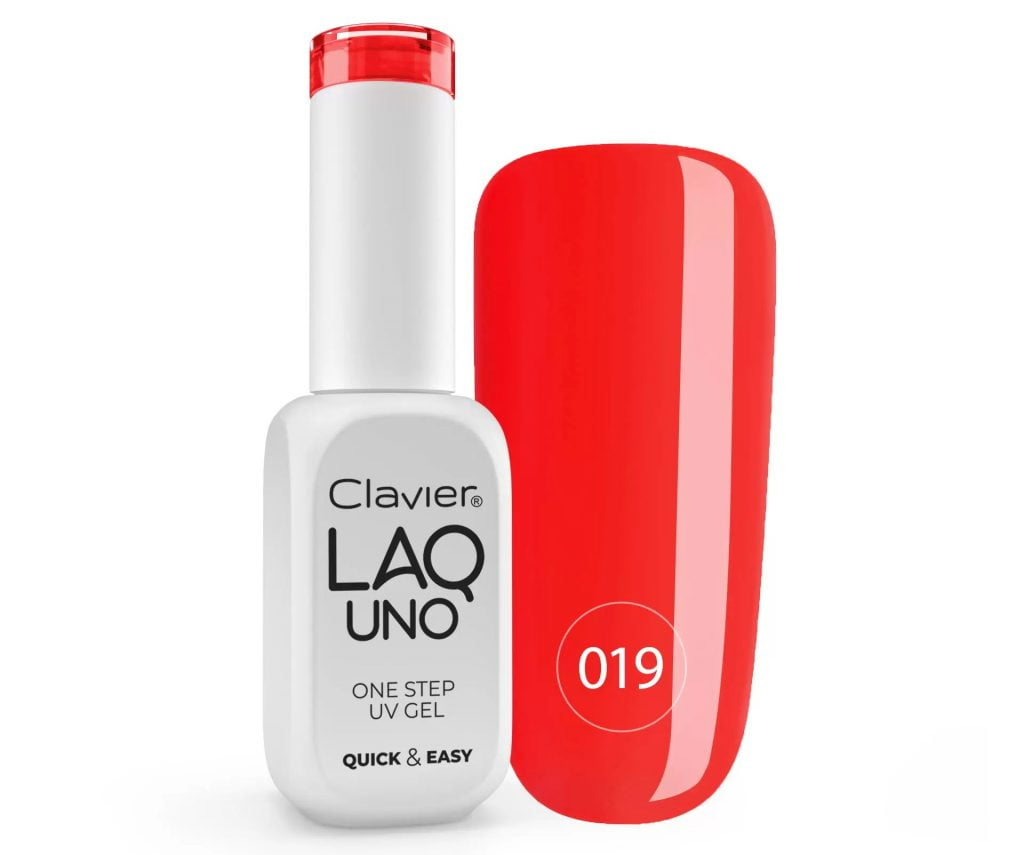 Lakier 3w1 + GRATIS, LaqUno Clavier One Step Gel Hybrydowy, Monofazowy 8ml – Fresh Cranberry 019