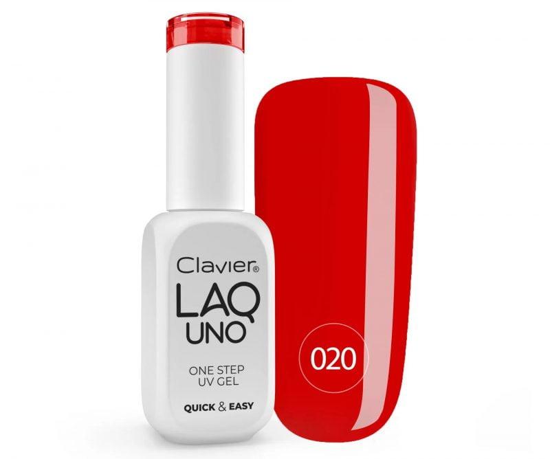 Lakier 3w1 + GRATIS, LaqUno Clavier One Step Gel Hybrydowy, Monofazowy 8ml – Simply Red 020