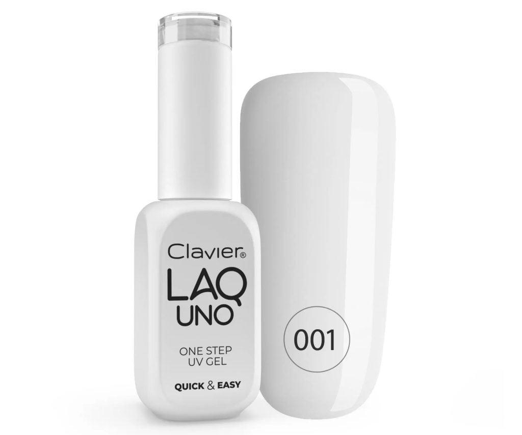 Lakier 3w1 + GRATIS, LaqUno Clavier One Step Gel Hybrydowy, Monofazowy 8ml – Prosecco 001