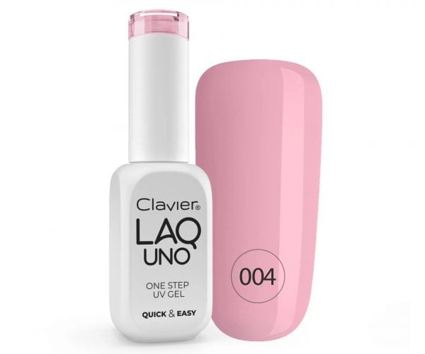 Lakier 3w1 + GRATIS, LaqUno Clavier One Step Gel Hybrydowy, Monofazowy 8ml – Chicle Chic 004