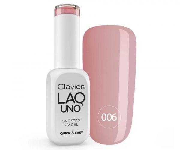 Lakier 3w1 + GRATIS, LaqUno Clavier One Step Gel Hybrydowy, Monofazowy 8ml – Shy Pink 006