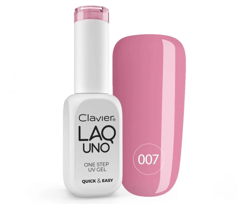 Lakier 3w1 + GRATIS, LaqUno Clavier One Step Gel Hybrydowy, Monofazowy 8ml – Elegantina 007